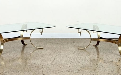 PAIR SOLID BRONZE GLASS TOP TABLES CIRCA 1960