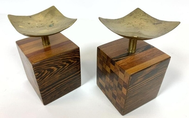 Pair Brass and Wood Candle Holders. Parquet Wood Design