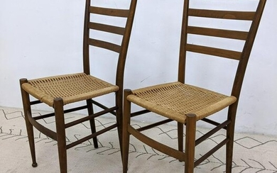Pair Italian Style Side Chairs with Cord Seats.