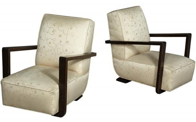 Pair of Art Deco Upholstered Walnut Stained Club Chairs