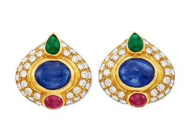 Pair of Gold, Cabochon Colored Stone and Diamond Earclips