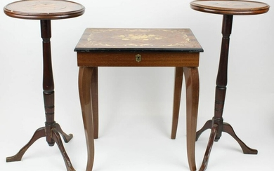 Pair of Inlaid Stands, Stand with Music Box