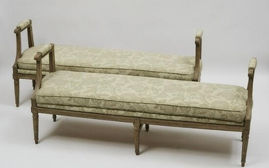 Pair of Louis XVI Painted Banquettes, 18th/19th century