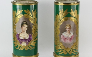 Pair of Mid 19thC French Napoleon II Sevres Urns