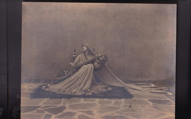 Photograph of Ruth St Denis, whose benefactor's husband, Orlando Roland, used to paint his Tagor Poem painting, which depicts a scene from a Ruth St Denis dance]