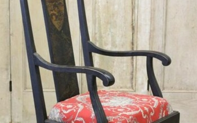 Queen Anne Style Chinoiserie Back Armchair