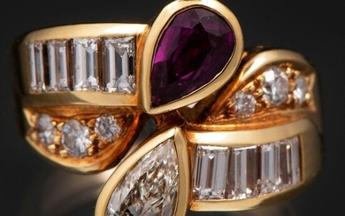 Ring You and Me mounted on 18 Kt yellow gold with brilliant-cut diamonds, pear-cut and baguette-cut with pear-cut ruby.