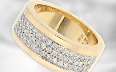 Ring: attractive modern yellow gold ring with diamonds, ca. 0,59ct, 18K gold