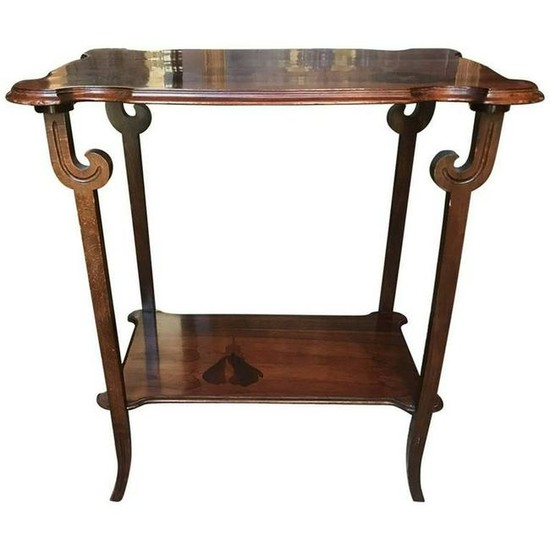 Rosewood Inlaid Two-Tier Side Table