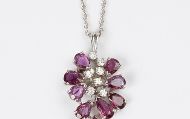 Ruby and Diamond 14k White Gold Necklace