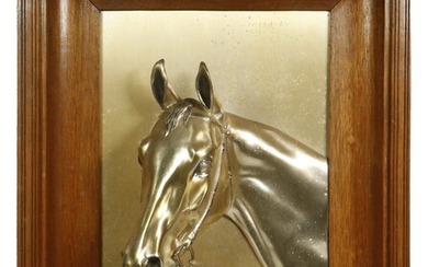SILVER-PLATED DIMENSIONAL HORSE HEAD PLAQUE