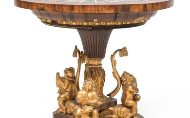 SPLENDID TABLE IN WALNUT WITH SPECIMEN MARBLE TOP - ROME 19TH CENTURY