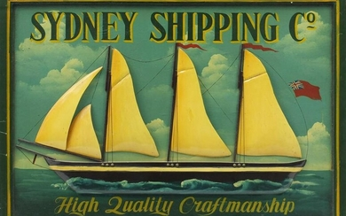 Shipping interest Sydney Shipping Co, hand painted
