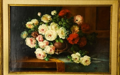 Signed Floral Still Life Oil Painting