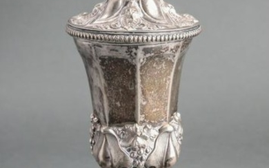 Silver Covered Goblet w Repousse Foliate Motif