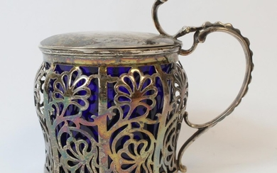 Silver mustard pot of large size, ogee baluster shape with p...