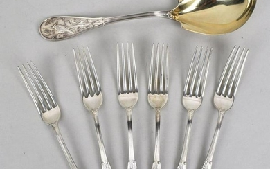 Six Tiffany & Co. Sterling Forks, Server