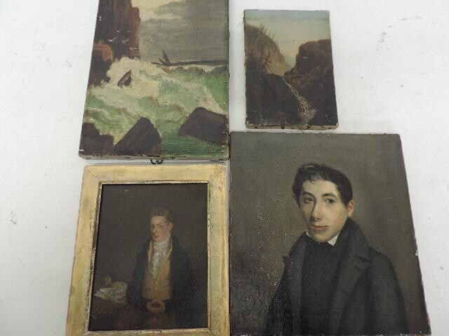 Small Unframed 19th Century Portrait Oil of Young Gentleman...