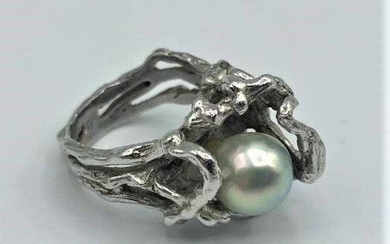 Sterling Silver Hand Made Nugget Ring with Pearl