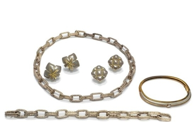 Sterling Silver Link Necklace and Two Pairs of Earclips, Tiffany & Co., and Sterling Silver, Gold and Diamond Bangle Bracelet