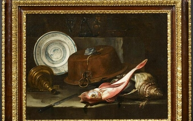 Still Life with Fish, Copper Kettle and Faience Bowl