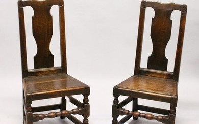 TWO 18TH CENTURY OAK DINING CHAIRS, with vase shaped