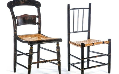 TWO AMERICAN CHAIRS AND DROP LEAF TABLE.