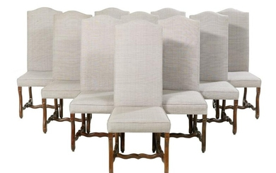 Ten Louis XIII-Style Upholstered Dining Chairs