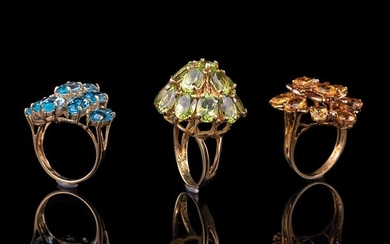 Three Yellow Gold and Gemset Cluster Rings
