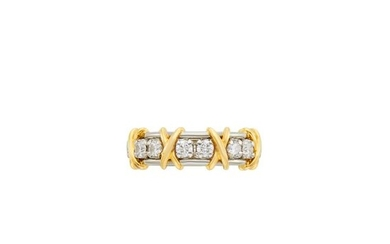 Tiffany & Co. Schlumberger Platinum, Gold and Diamond Band Ring