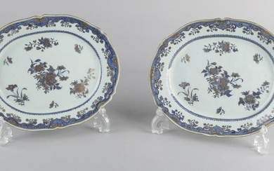 Two 18th century Chinese porcelain meat dishes with