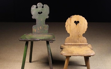 Two 19th Century Folk Art Chairs. The tallest painted green and having a shaped and crested plank ba