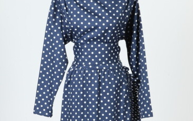 VINTAGE NAVY BLUE DRESS WITH WHITE POLKA DOTS AND RUFFLE...