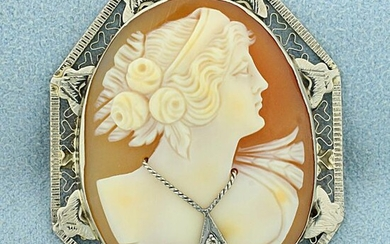 Vintage Cameo Pin in 14K White Gold