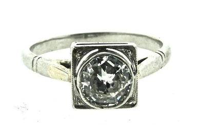 WOWSA Platinum & Round Brilliant Cut Diamond Ring Circa