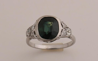White gold ring, 585/000, with tourmaline and