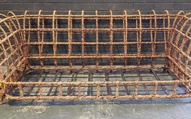Wrought Iron Framed Settee Wrapped in Rattan (H:73 x W:224cm)