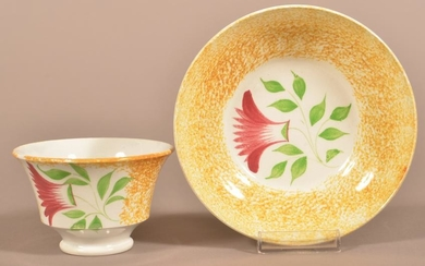 Yellow Spatter China Thistle Pattern Cup and Saucer.