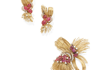 a gold, ruby and diamond brooch and ear clip set