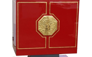 1 Art - Deco 2-door cabinet in red...