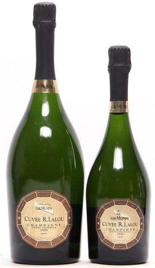 "1 bt. Mg. Champagne ""René Lalou"", Mumm 1999 A (hf/in). etc. Total 2 bts."