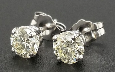 1.03ct Light Yellow Diamonds - 14 kt. White gold - Earrings - ***No Reserve Price***