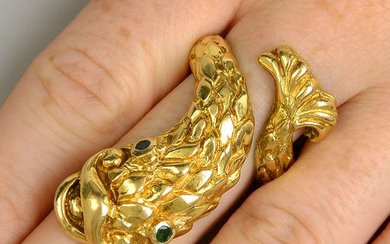 An emerald fish ring, by Ilias Lalaounis.