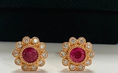 14ct Rose Gold Ruby and Diamond flower design...
