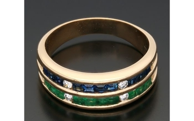 18 kt. Gold - Ring - 0.08 ct Diamond - Emerald - Sapphire