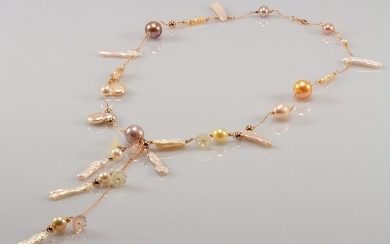 18 kt. Pink gold - Necklace with pendant - Pearls, Chalcedony