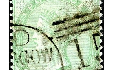 1856 1/- GREEN PLATE 1 - ON AZURE PAPER - used; 1998 Brandon...