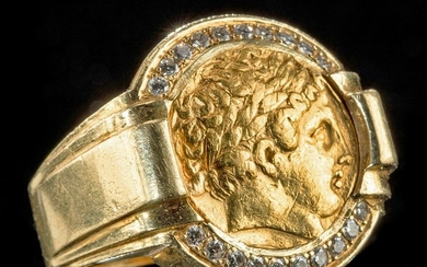18K Gold Ring w/ Ancient Greek Gold Stater, Diamonds