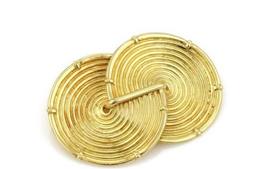 18K Yellow Gold Fancy Double Circle Pin / Brooch