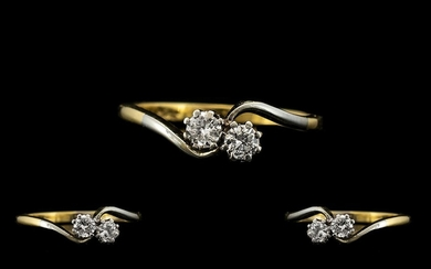 18ct Gold and Platinum Set Two Stone Diamond Ring of Attract...